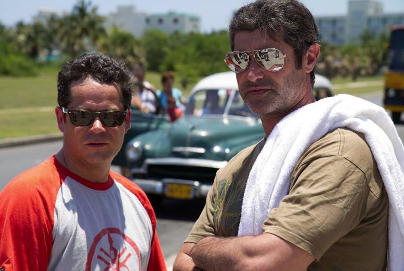 Angel Plana con Jorge Sanz durante un rodaje